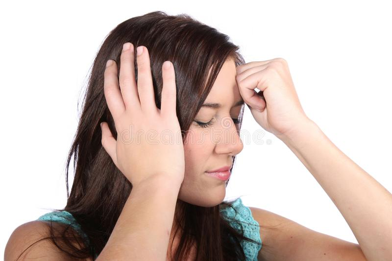 Beautiful Girl with Migraine Headache stock image