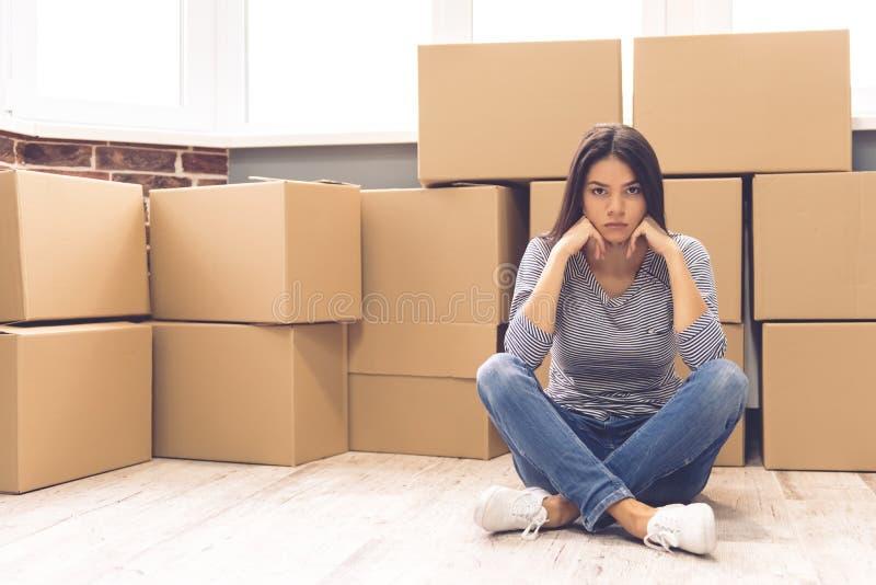 Beautiful girl moving stock photo