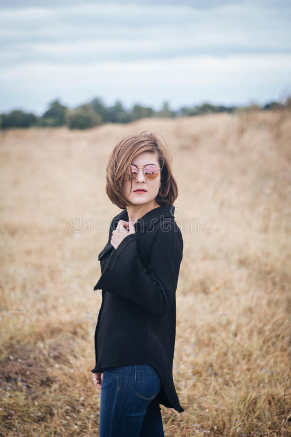 Beautiful girl. In nature fashion royalty free stock images