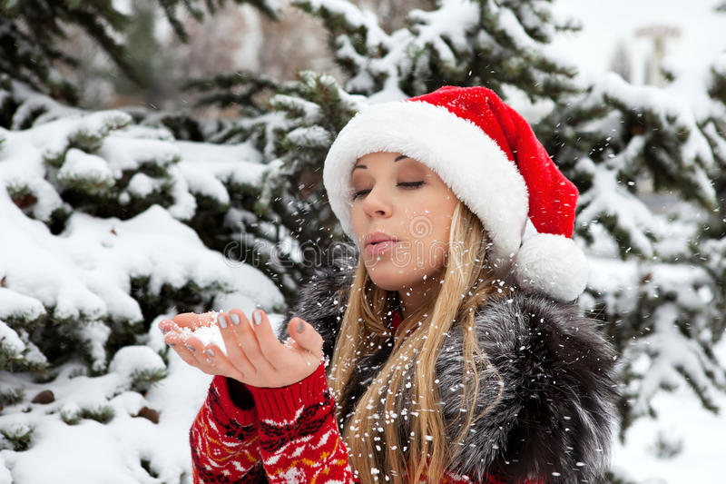 Download Beautiful Girl Near Christmas Tree With Snow Stock Image - Image: 22574755