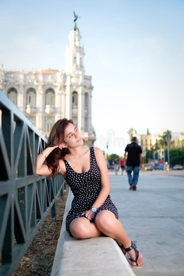 Beautiful girl in Old Havana royalty free stock images