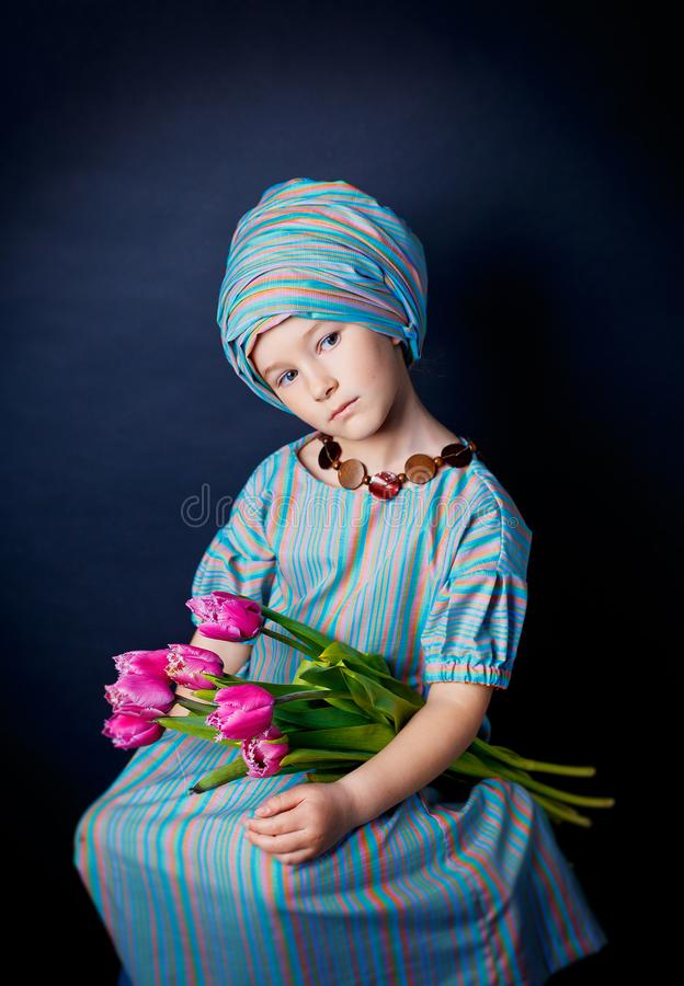 Beautiful girl in oriental outfit. royalty free stock photos