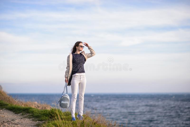 Beautiful girl outdoors. Spring day. royalty free stock photos