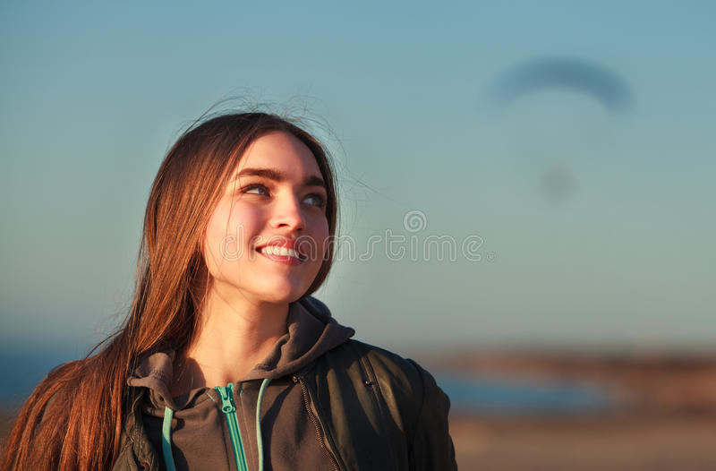 Beautiful girl and paraplane royalty free stock photo