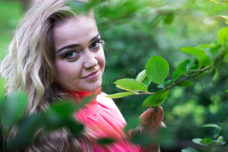 Beautiful girl in the Park. Beautiful girl with blonde long hair in the Park stock photography