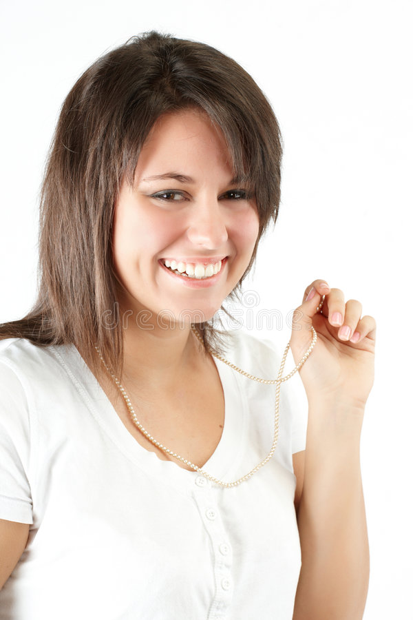 Download Beautiful girl with pearls stock image. Image of cute - 8139447