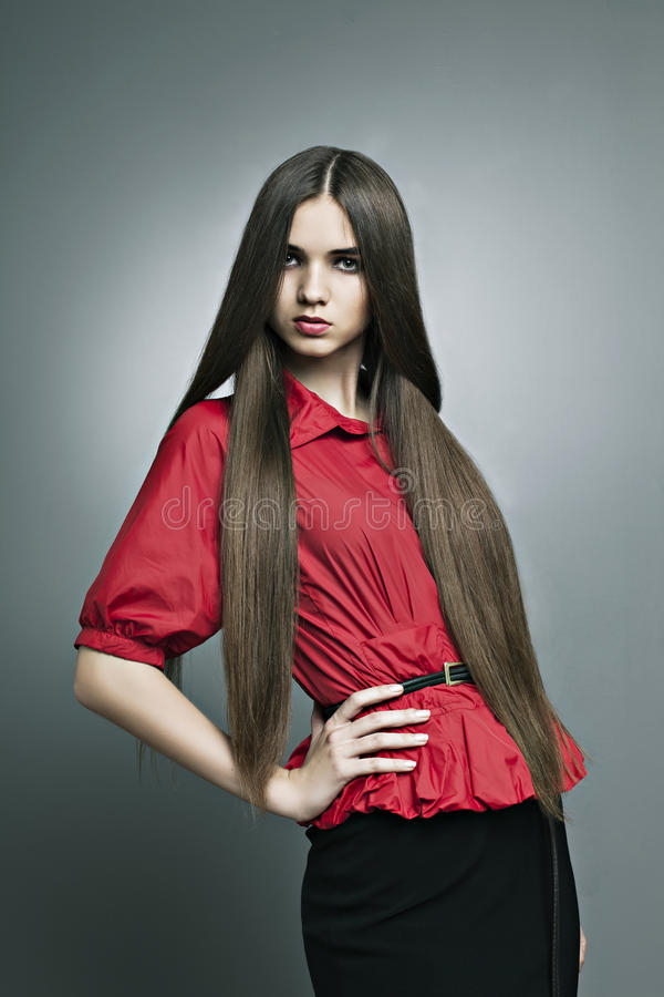 Beautiful Girl With Perfect Skin And Long Hair Royalty Free Stock Images