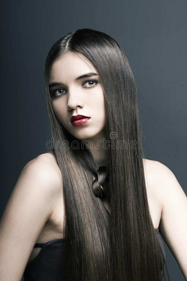 Download Beautiful Girl With Perfect Skin, Red Lipstick Stock Photo - Image: 22206064