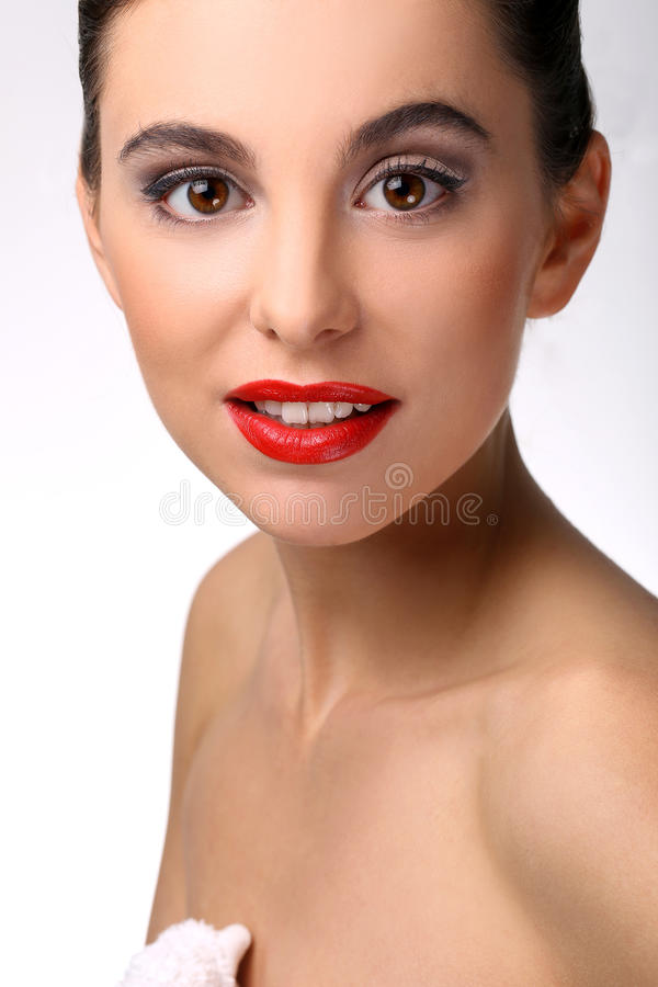 Beautiful girl with perfect skin and red lipstick stock images