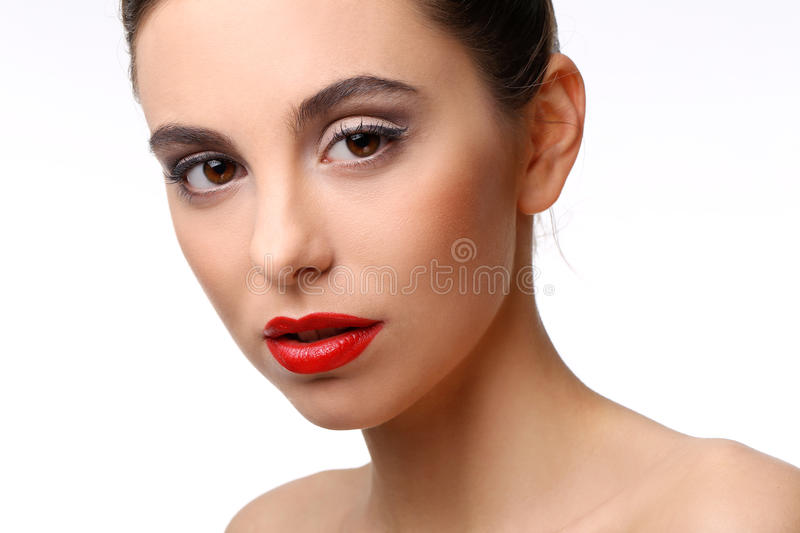 Beautiful girl with perfect skin and red lipstick stock image