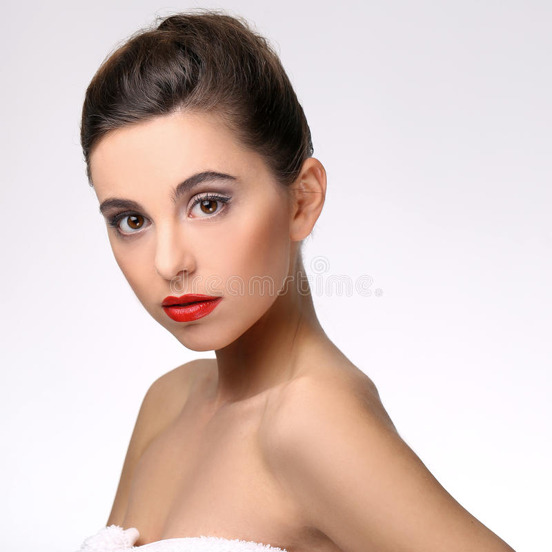 Beautiful girl with perfect skin and red lipstick stock photo