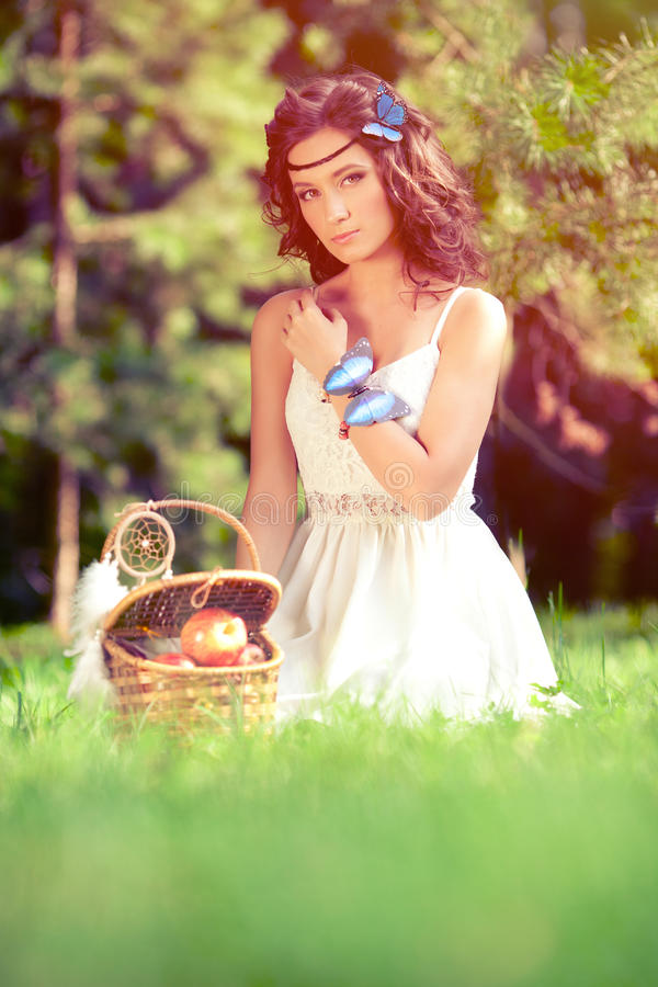 Beautiful girl on picnic on nature. Beautiful Young girl Outdoor stock photography