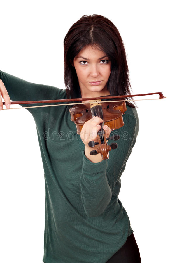 Beautiful girl play violin portrait royalty free stock images
