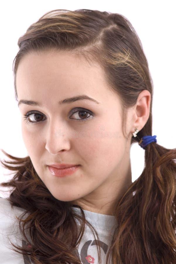 Beautiful girl portrait. Isolated over white background stock photo