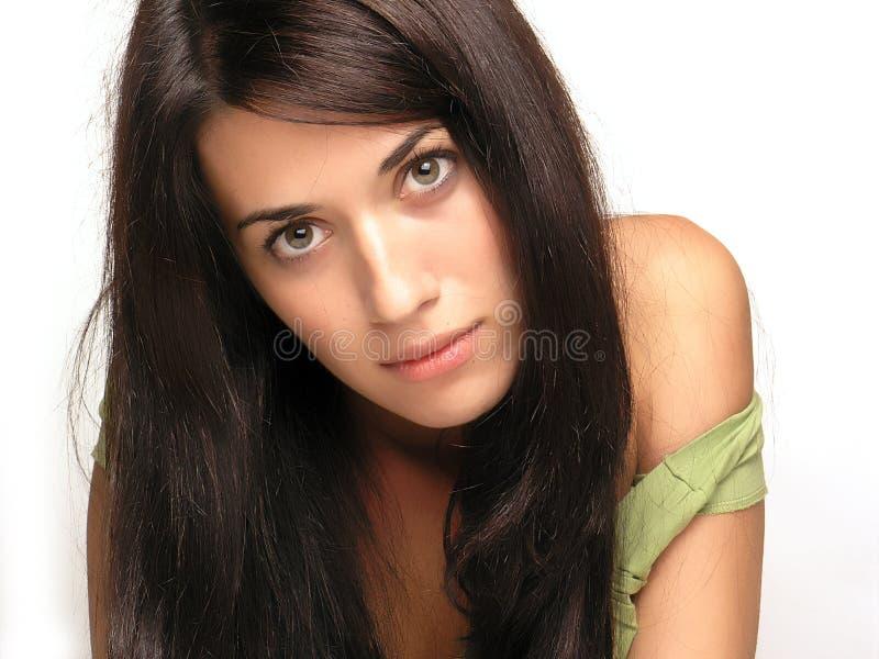 Beautiful girl portrait. Isolated on white royalty free stock image