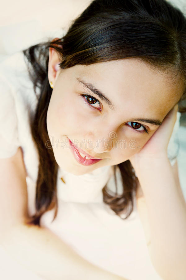 Beautiful Girl Portrait. With a Communion Dress royalty free stock images