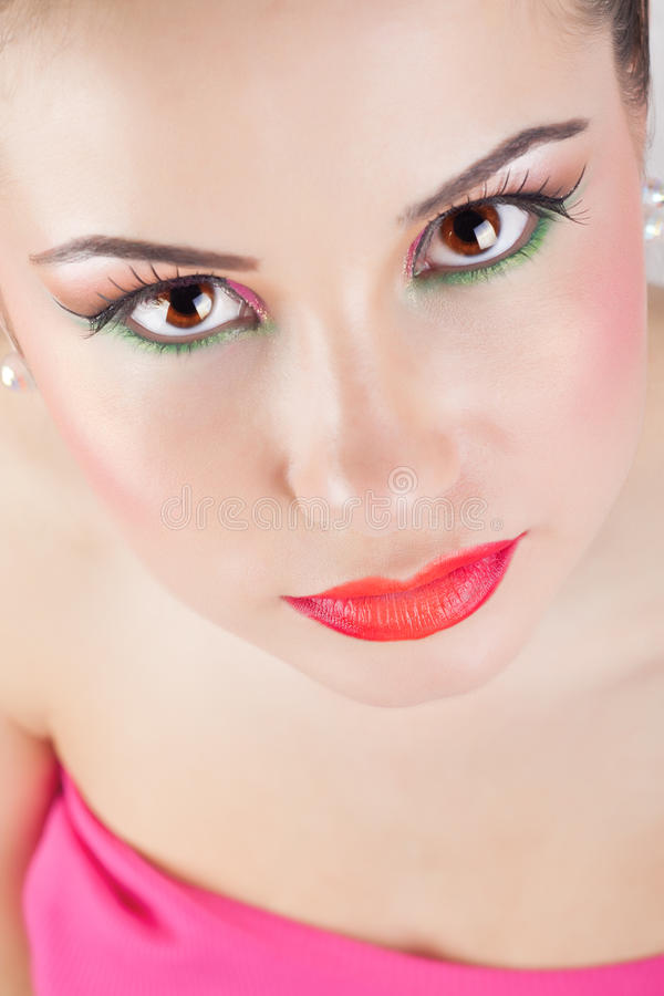 Beautiful girl portrait, with clean skin. stock photography