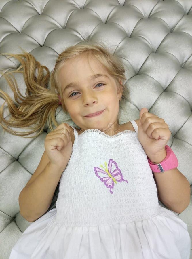 Beautiful girl. Portrait close-up of child models emotion good mood royalty free stock photos