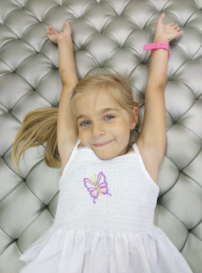 Beautiful girl. Portrait close-up of child models emotion good mood stock images