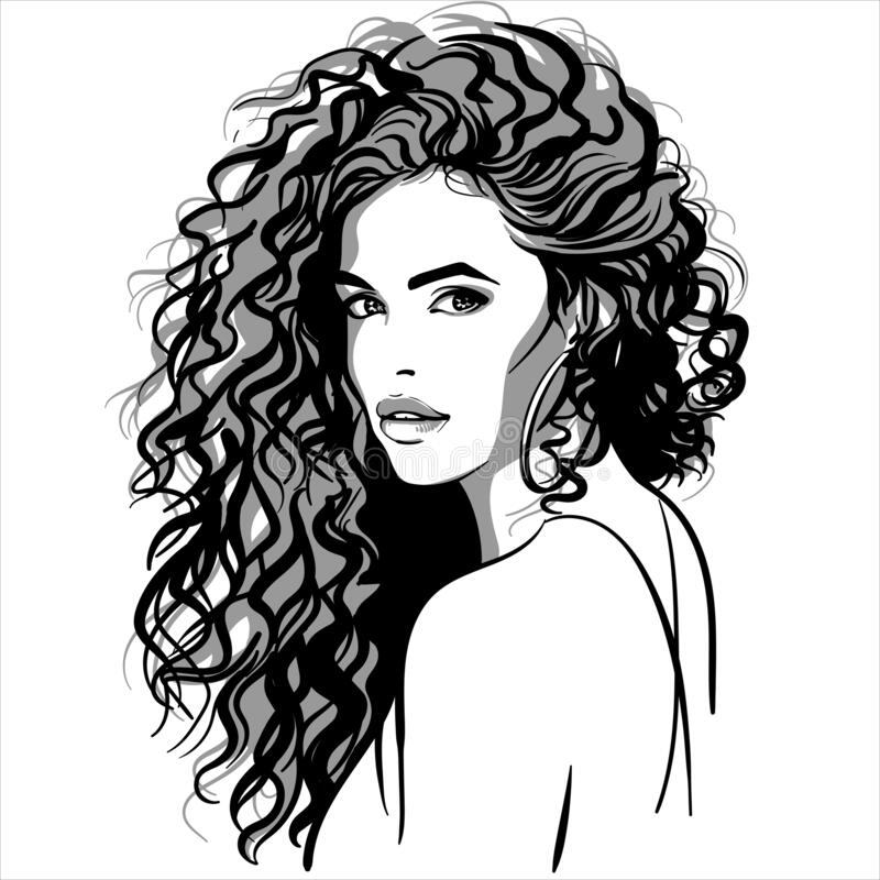 Free Beautiful Girl Portrait. Curly Pretty Woman. Royalty Free Stock Images - 179348549