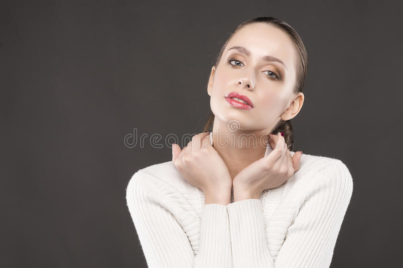 The beautiful girl portrait on a gray background.  stock image
