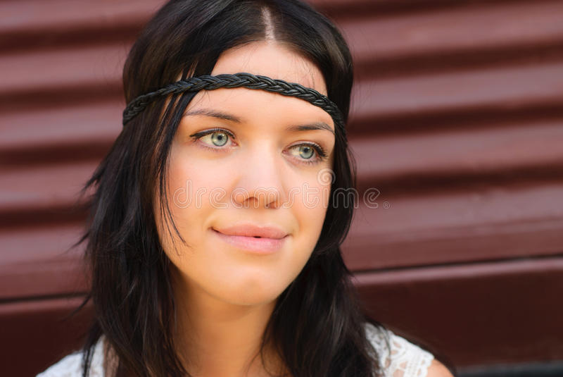 Beautiful girl portrait. Hippie style, white dress stock photos