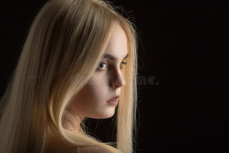 Beautiful girl portrait. With long blond hair royalty free stock photo
