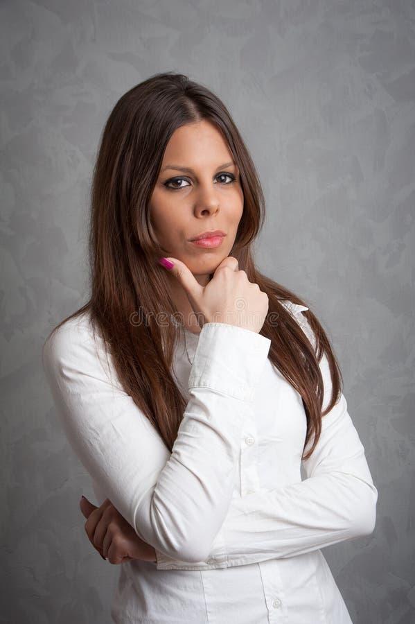 Beautiful girl portrait. Photo of beautiful girl in studio royalty free stock image
