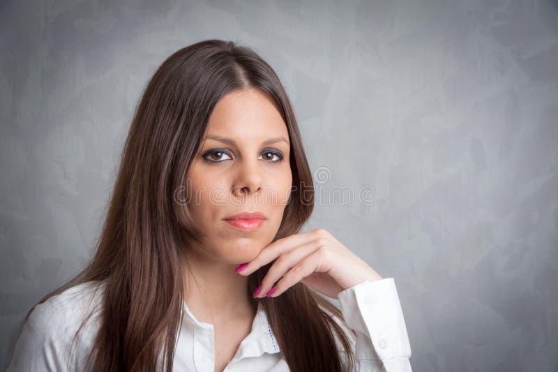 Beautiful girl portrait. Photo of beautiful girl in studio royalty free stock photography