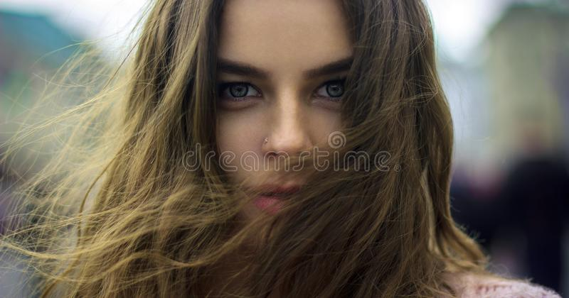 Beautiful girl portrait. In the saint-petersburg royalty free stock image