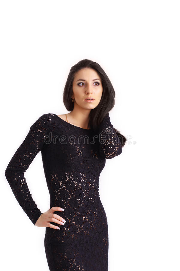 Beautiful Girl. Portrait of a Beautiful Girl in Black Dress Isolated on white background royalty free stock photos