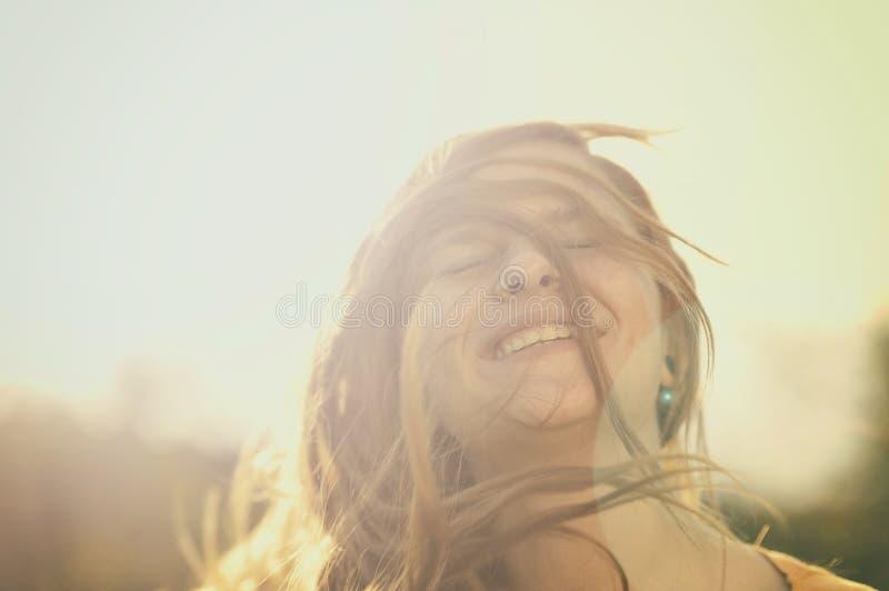 Beautiful girl portrait. Beautiful girl shaking her head stock images