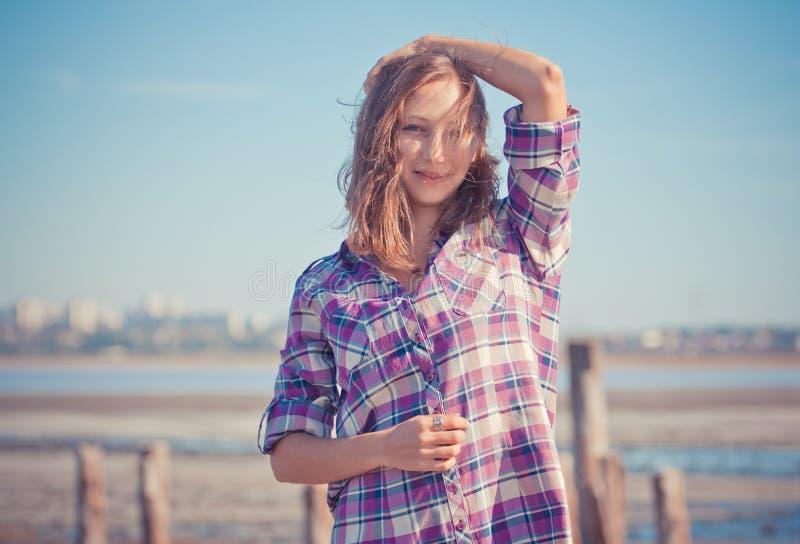 Beautiful girl portrait on a summer outdoor. Beautiful girl on a summer outdoor stock photography