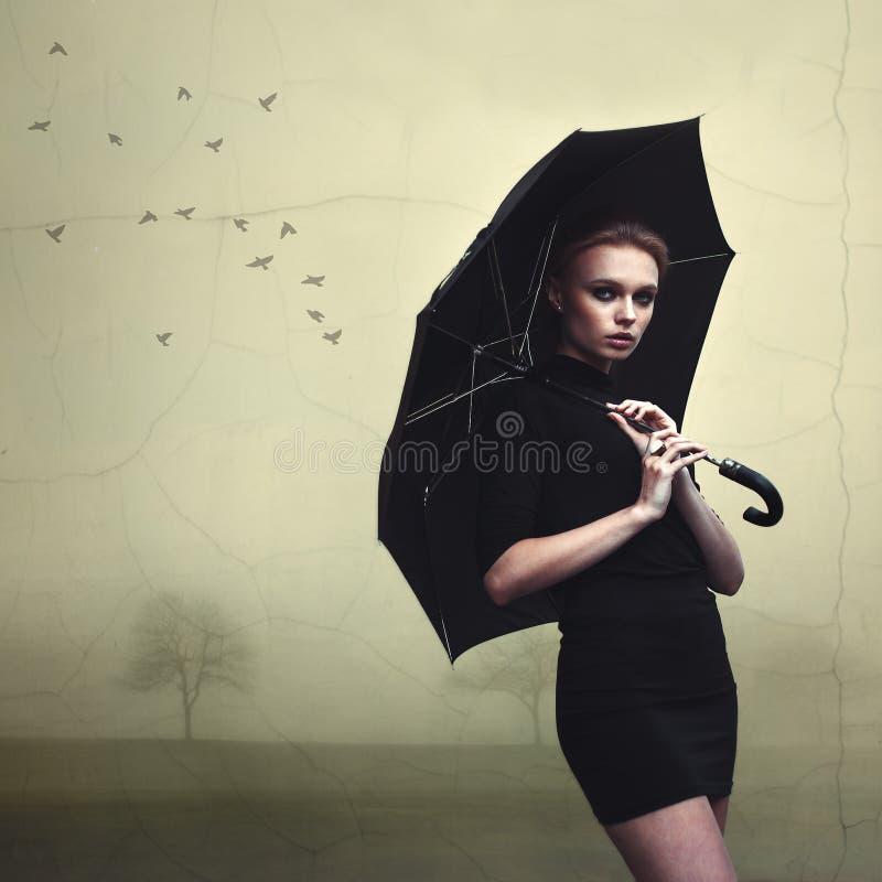 Beautiful girl portrait with umbrella. Outdoor stock photos