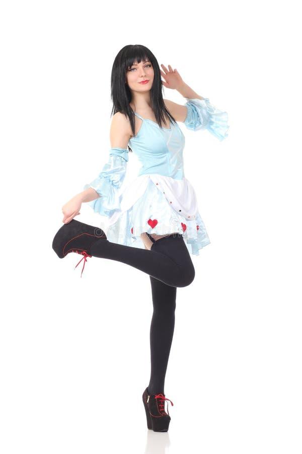 Beautiful girl posing. On a white background stock photo