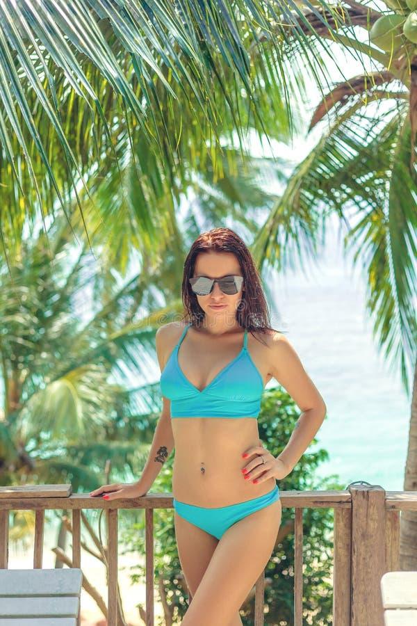 Beautiful girl posing in bikini and sunglasses. At tropical resort royalty free stock images