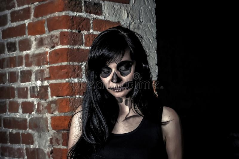 Beautiful girl posing in halloween style stock images