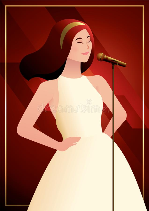 A beautiful girl singing with microphone in front of glamorous red background. A beautiful girl posing like a model and singing with microphone in front of stock illustration