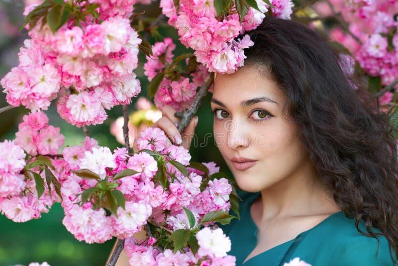 Beautiful girl posing near pink sakura flowers as background, face closeup, spring landscape stock photos