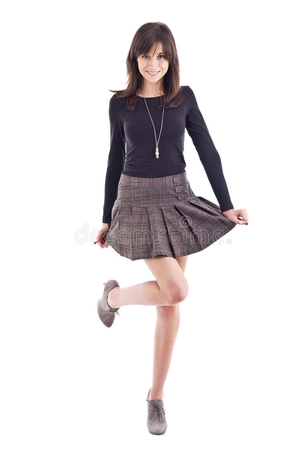 Download Beautiful Girl Posing In Short Skirt Stock Photo - Image: 24730472