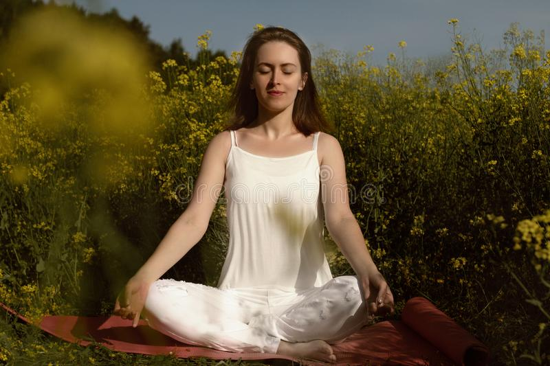 Beautiful girl practices yoga in peaceful nature atmosphere royalty free stock photos