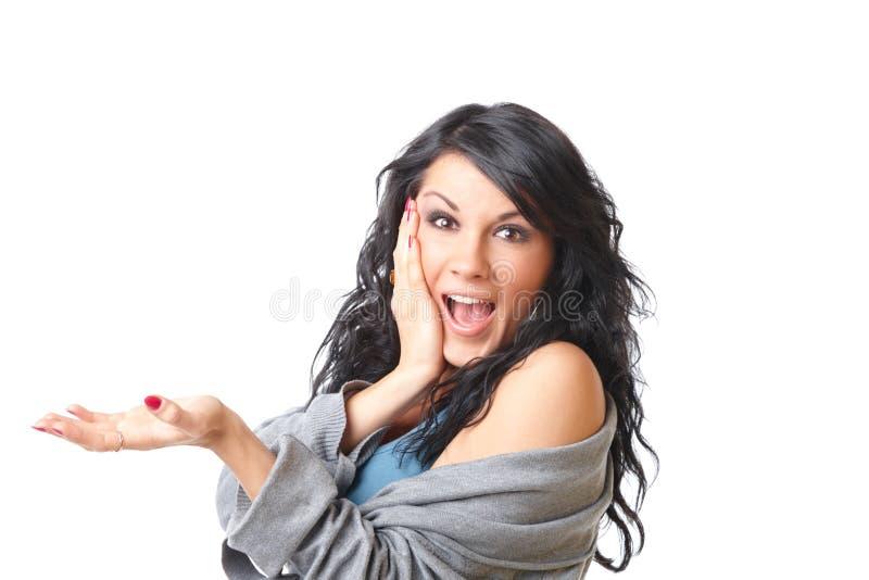 Beautiful girl presenting royalty free stock image