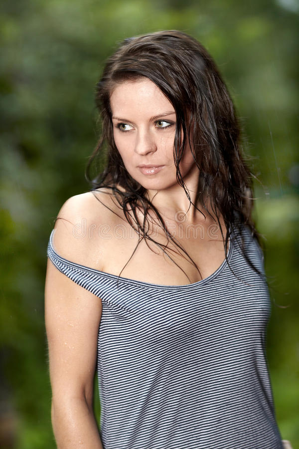 Download Beautiful girl in the rain stock image. Image of looking - 20910283