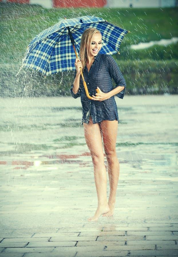 Download Beautiful girl in rain. stock photo. Image of bodycare - 26132436