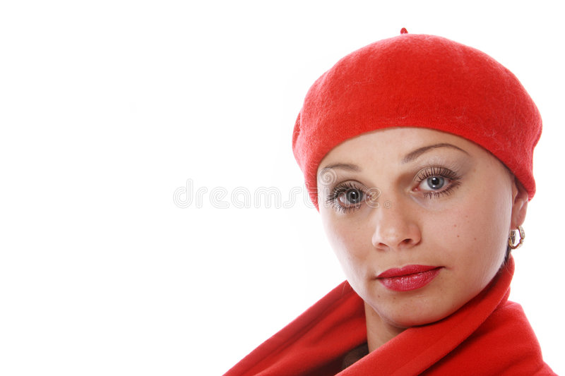 Beautiful girl in red beret royalty free stock image