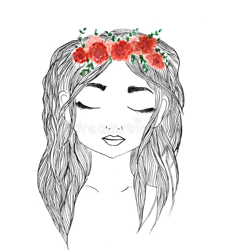 Beautiful girl with red flower wreath in long hair. Hand drawn illustration, t-shirt print stock illustration