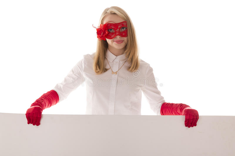 Beautiful girl in red gloves. With a white sheet on a white background stock images