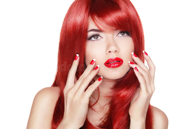 Beautiful Girl With Red Hair. Long Straight Hair Shine With Heal ...