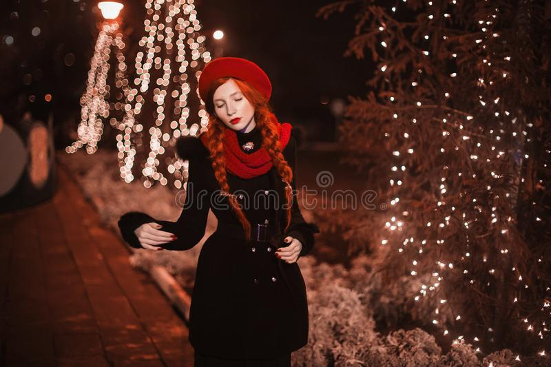 Beautiful girl with red hair. royalty free stock photos