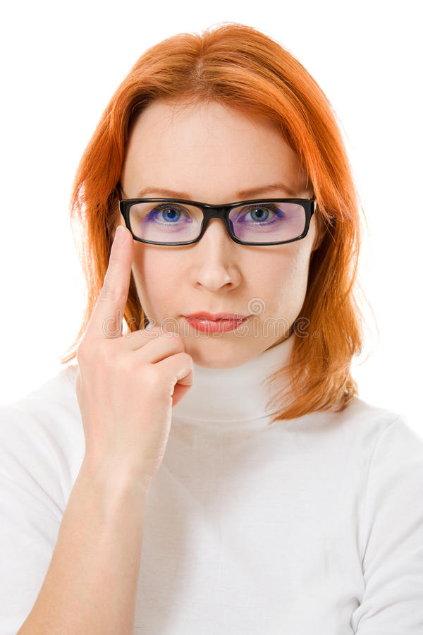 Download Beautiful Girl With Red Hair Wearing Glasses Stock Image - Image: 24952339